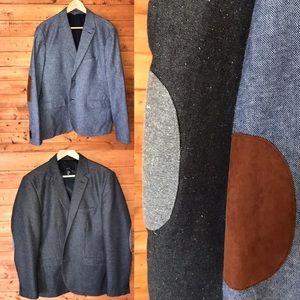 2 heathered elbow patch blazers H&M 44R 42R